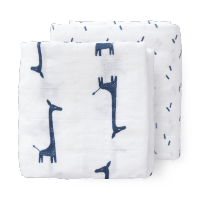 Lot de 2 grands langes - girafe - coton bio (120x120) LIST de Audrey et David